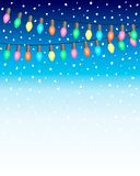 Christmas and New Year Background with Garland eletric bulb Lights and Falling Snow balls on blue white gradien background. EPS10. Vector Illustration stock illustration