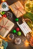 Christmas theme on wooden table. stock photo