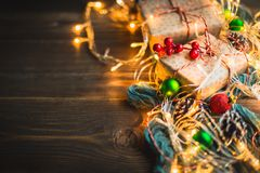 Christmas theme on wooden table. royalty free stock photo