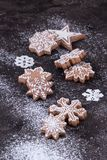 Christmas New Year background with gingerbread cookies.  royalty free stock image