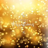 Christmas and New Year background with gold bokeh lights. And decorative text Royalty Free Stock Photos