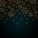 Christmas New Year background with gold snowflakes and glitter Blue festive winter background Christmas and New Year pattern