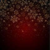Christmas New Year background with gold snowflakes and glitter Red festive winter background Christmas and New Year pattern royalty free illustration