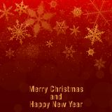 Christmas and New Year background. gold snowflakes and red background. Eps 10 Stock Images