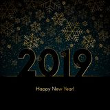 Christmas New Year background with gold snowflakes Text 2019 Happy New Year Blue winter background Christmas New Year pattern. Christmas New Year background with vector illustration