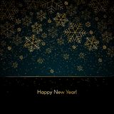 Christmas New Year background with gold snowflakes Text Happy New Year Blue winter background Christmas, New Year pattern royalty free illustration