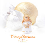 Christmas and New Year background 2017.  Golden angel. Christmas tree toy. New Year background 2017 and place for your text. Christmas background with festive Royalty Free Stock Images