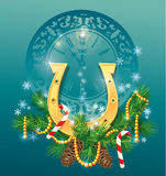 Christmas and new year background with golden hors. E shoe - symbol 2014 Stock Photography