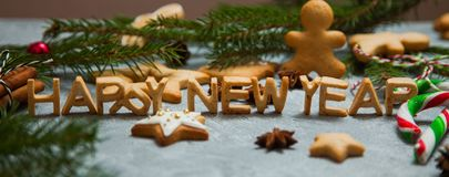 Christmas new year background greeting card gingerbread candy fir tree Royalty Free Stock Photos