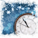 Christmas and New Year background. Christmas and Happy New Year background with snowflake border and clock Royalty Free Stock Photo