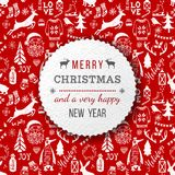 Christmas and New Year background. Merry Christmas and a very happy New Year paper emblem over seamless pattern in vintage style. Vector illustration Stock Photography