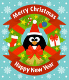Christmas and New Year background with penguin Stock Photo
