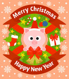Christmas and New Year background with pig Royalty Free Stock Photos