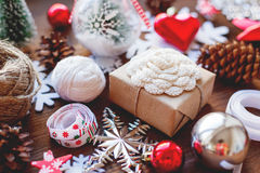 Christmas and New year background with presents, ribbons, balls Royalty Free Stock Photo