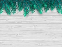 Christmas or New Year background with realistic fir branches on a wooden white table. Vector illustration. Top view Royalty Free Stock Photo
