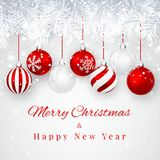 Christmas and New Year background with Red christmas balls, fir branch and snow for xmas design. Vector illustration.  royalty free illustration