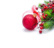 Christmas and New Year background. Red decorations and Christmas tree Royalty Free Stock Photography