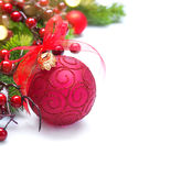 Christmas and New Year background. Red decorations and Christmas tree Stock Photos