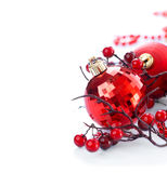 Christmas and New Year background. Red decorations over white Stock Photography