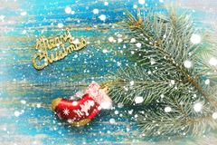 Christmas new year background. Red toy sock Santa Claus and the Royalty Free Stock Images