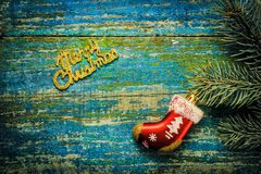 Christmas new year background. Red toy sock Santa Claus and the Royalty Free Stock Photo