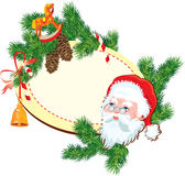 Christmas and New Year background - Santa Claus he. Ad, fir tree branches, pine cones and accessories - oval frame with empty space for text Stock Photos