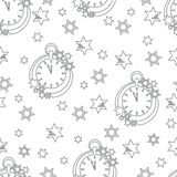 Christmas and New Year 2019 background. Seamless pattern with clock and stars. Christmas and New Year 2019 background. Design for packaging paper, fabric and royalty free illustration