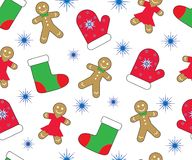 Christmas new year background, seamless pattern. Gingerbreads, mitten, stocking and snowflake. Vector Royalty Free Stock Images