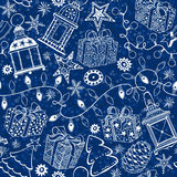 Christmas and New Year  background. Seamless pattern with. New Year or Christmas background. Vector seamless pattern with traditional festive elements Royalty Free Stock Photos