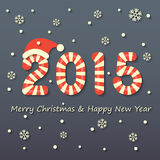 Christmas and new year background. Year 2015 sign in red and white Christmas sweet style with red hat on snow and snowflakes background Stock Image