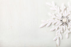 Christmas and New Year background. Snowflake . Copy space. Christmas and New Year background. Snowflake on a white wooden background. Copy space stock images