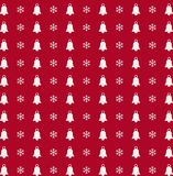 Christmas and new year  background  with snowflakes and bells pr. Christmas and new year red and white seamless background  with snowflakes and bells print Royalty Free Stock Photo
