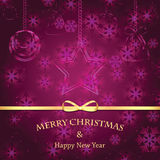 Christmas and New Year background with snowflakes. And Christmas ornaments and gold ribbon stock illustration