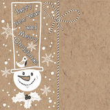 Christmas and New Year background with snowman on kraft paper. V Royalty Free Stock Photos