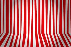 Christmas and new year background striped room in red and white. Stock Photography