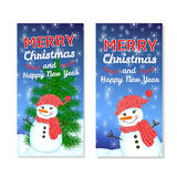 Christmas and New Year background. Christmas and New Year templates set for web banners, greeting cards, invitations from hand draw snowman, snowflake, pine Stock Images