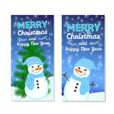 Christmas and New Year background. Christmas and New Year templates set for web banners, greeting cards, invitations from hand draw snowman, snowflake, pine Royalty Free Stock Photography