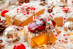 Christmas and New year background with toy car present Stock Images