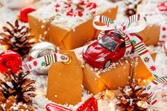 Christmas and New year background with toy car present Stock Photo