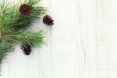 Christmas or New Year background - Christmas tree branch with a pinecone and decorations on a light wooden table royalty free stock photo