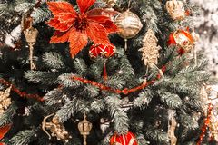 Christmas and New Year background. Christmas tree decorated for Stock Photography