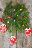 Christmas and New Year Background with Tree and Gingerbread Stock Image