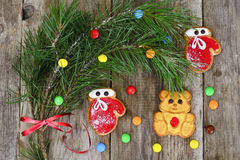 Christmas and New Year Background with Tree and Gingerbread Royalty Free Stock Photos