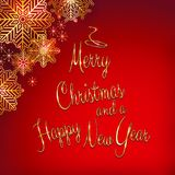 Christmas and new year background with tree shaped golden text.  Stock Photo