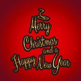 Christmas and new year background with tree shaped golden text.  Stock Photography