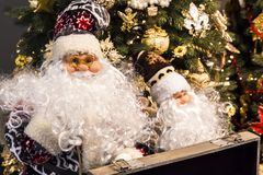 Christmas and New Year background. Two Santa Claus on the backgr Stock Image
