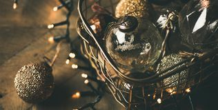 Christmas tree toy decoration balls and light garland stock image