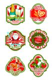 Christmas and New Year holiday badge design. Christmas and New Year badge set. Xmas tree and holly wreath with ribbon, Santa Claus with gift bag, cookie and Royalty Free Stock Images