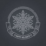 Christmas and New Year badge with snowflake. Merry Christmas and Happy New Year creative badge or labels with snowflake for greetings cards, gift tags Stock Image