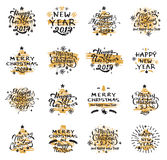 Christmas and New Year badges. Set of Merry Christmas badges and Happy New Year stamp, sticker set with lettering typography. New year emblem in retro grunge royalty free illustration